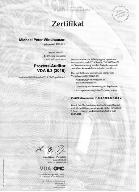 Zertifikat VDA 6.3